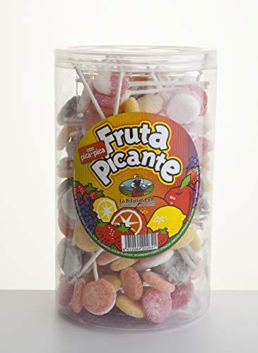 Piruleta Fruta Picante La Asturiana - Piruletas con sabores de diversas frutas y recubrimiento con pica pica, sin gluten, en botes con 200 unidades (1.400 gramos)