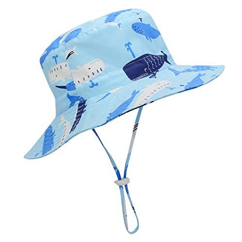 Durio Baby Sonnenhut Kinder Sonnenhüte UV Schutz Breite Krempe Fischerhut Hut Sonnenschutz Unisex Junge Mädchen Kleinkind Blauwal 4-8 Jahre