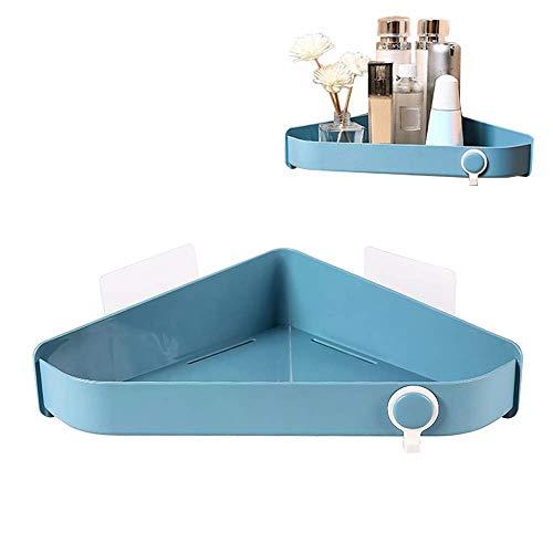 Luyshts Estantes de baño sin taladrar montado en la pared de almacenamiento de ducha de material ABS resistente, estante de ducha triángulo (azul) (color: azul)