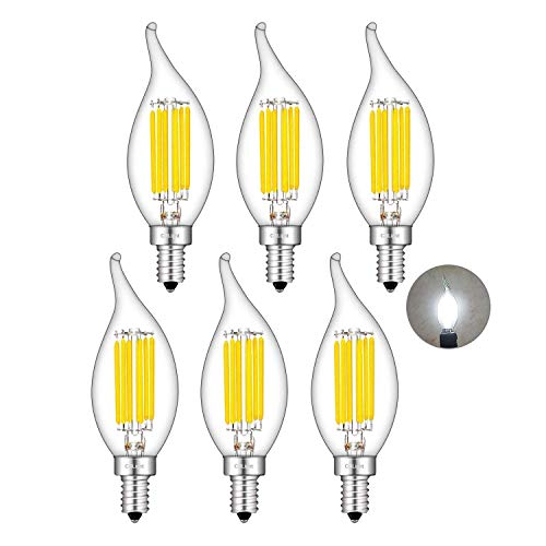CRLight 6W Dimmable LED Candelabra Bulb 4000K Daylight White, 70W Equivalent 700LM, E12 Base LED Chandelier Light Bulbs, Antique Edison Clear Glass CA11 Candle Flame Shape Bent Tip, Pack of 6