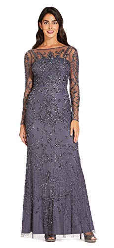 Adrianna Papell Women's Long Sleeve Open Back Allover Beaded Dress, Gunmetal, 2 (Apparel)