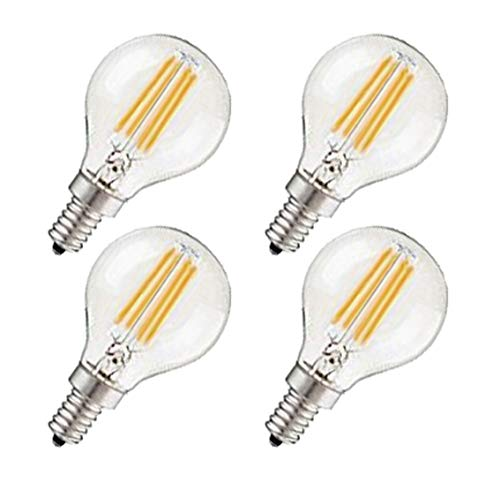CTKcom G45 4W E14 Base Candelabra LED Bulbs Dimmable(4 Pack)-Vintage Edison LED Bulb 40W Equivalent 2700K Warm White Lamp for Home,Pendant Lights,Sconces,Antique Light Fixtures 110V~130V AC
