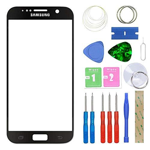 MovTEK Frontglas für Samsung Galaxy S7 G930 Serie Displayglas Ersatz Glas Reparatur Set mit Werkzeug (Schwarz)