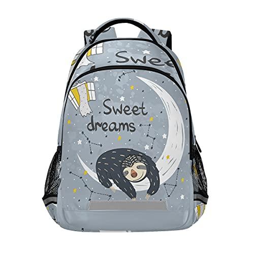Mnsruu - Zaino da scuola per ragazzi e ragazze elementari medie, ideale per dormire, bradipo e bambini, con clip sul petto