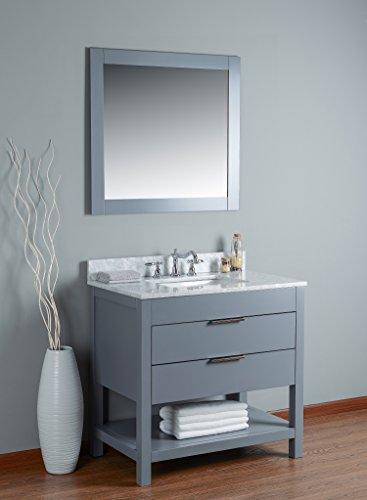 RUBEZA Symyrna Badezimmer-Waschtisch, 900 mm, weißer italienischer Marmor, Carrara-Top