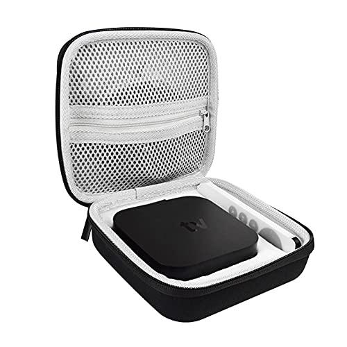 zebroau Funda de viaje para Apple TV 4K, set Top Box Bolsa de almacenamiento, bolsas de transporte para Apple TV 4K 2nd Gen con espacio para mandos a distancia y accesorios (negro)