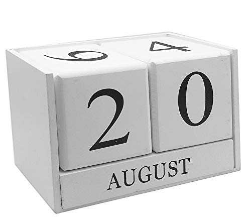 Wooden Desk Blocks Calendar - Perpetual Block Month Date Display Home Office Decoration(White), 6.1 x 3.9 x 2.9 inches