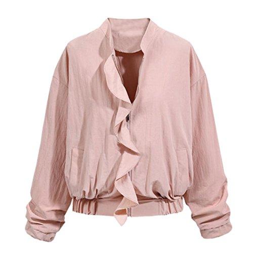 Longra 2017 Damesjack met ritssluiting, bomberjack, lange mouwen, ritssluiting, korte mantel voor dames, vintage, retro, elegant, trenchcoat, damast en blazer