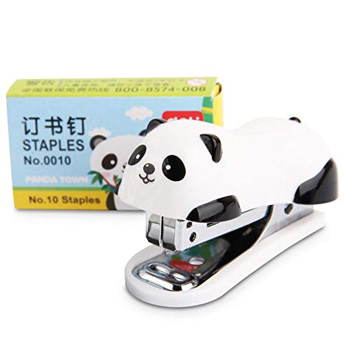 Clips Mini Cute Panda Style Desktop Plastic Stapler with 1000 PCS Staples for Office School Home Travel and Best Cute Gift for Kids