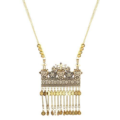 Indische Gold oxidierte ethnische Bollywood Mode handgemachte Tribal Afghani Statement Kette Münzen Quaste Halskette Schmuck