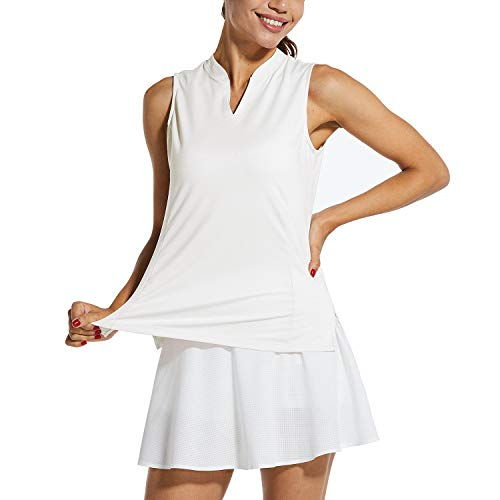 BALEAF Women's Sleeveless Golf Tank Lightweight Quick Dry Tennis Shirts UPF 41+ V-Neck Tank Tops Polo White L