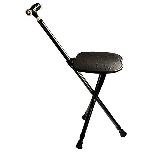 Cane Seat 300 lbs Capacity Combo Chairs Stool Folding Canes Seat Walking Stick Height Adjustment Massage Crutches Seat Aluminum Walking Stick Travel Aid for Elder Black