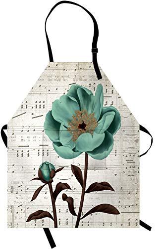 OuElegent Delantal de flores con diseño de pétalos verdes y hojas marrones con nota musical y 2 bolsillos, correa ajustable para el...