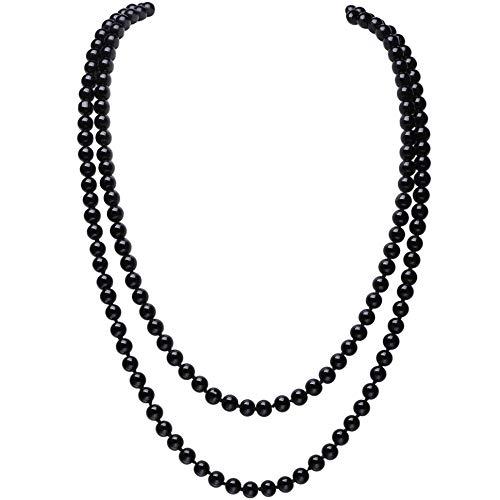 Babeyond, collana di perle sintetiche lunga 139,7 cm, in elegante stile flapper con grappolo di perline e base metal, colore: Nero , cod. longlace-black-1