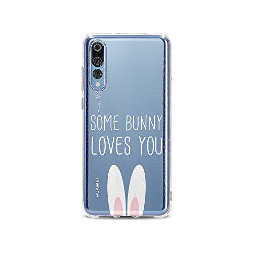 licaso Handyhülle kompatibel für Huawei P20pro I Schutzhülle aus TPU mit Some Bunny Loves You Print I Transparente Hülle Handy Aufdruck I Weich Silikon Durchsichtig