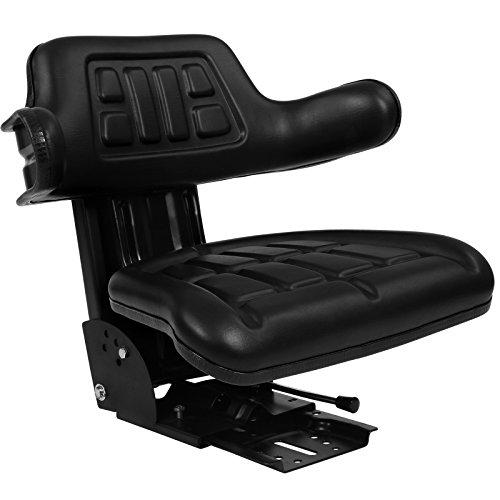 Traktorsitz mit Armlehne und Federung - Längenverstellbar, belastbar bis 130 kg - Treckersitz, Schleppersitz, Traktor, Gabelstapler