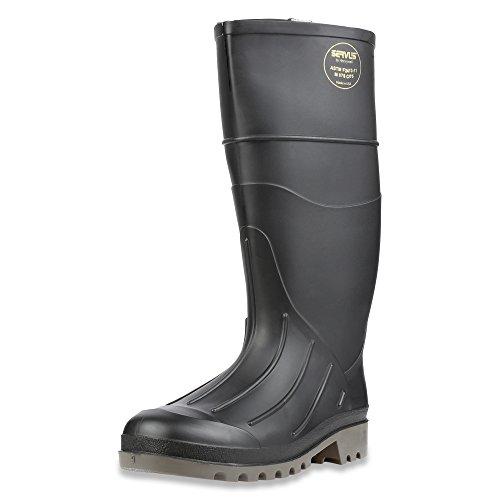 "Servus Iron Duke 15"" PVC Polyblend Men's Steel Toe Work Boots, Black & Gray (18801), 10"