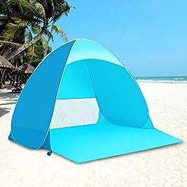 Kratax Tentes Instantanées Tente de Plage 2-3 Personnes, Pop-up Automatique Abri Plage UV, Imperméable Ventilée et…