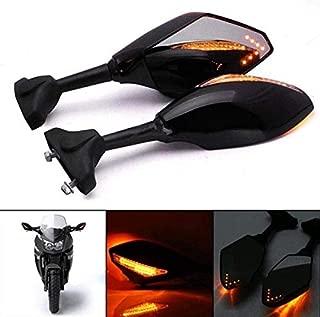 Motorcycle Rearview Mirror LED Turn Signal Lights Integrated Mirrors For Honda Kawasaki Suzuki
