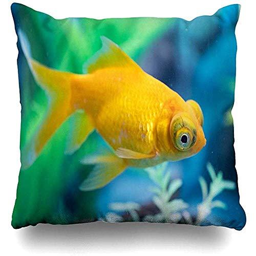 qinzuisp kussensloop is alleen gele telescoop draken ogen goudvis natuur Aquarium aquatische Auratus Carassius ontwerp helder huis kussensloop vierkante grootte es rits Decor kussensloop 45X45CM