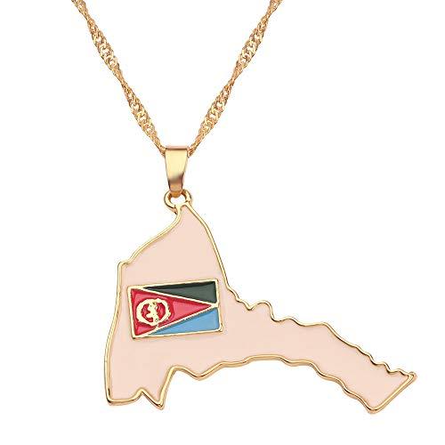 Revilium Nouveau Collier De Drapeau De Carte De Pays Afrique Guinée Ghana Libéria sous-Marin Jamaïque Afrique du Sud Afrique du Sud Inde Brésil Pendant Chain Man Jewelry 40Cm