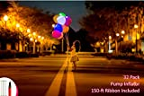 LED Balloons Light Up Balloons For Party, Birthday, Wedding, Neon Colors Lights Lasts 12-48 Hours, Double Action Balloon Pump + 150 Feet Ribbon