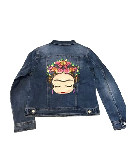 chaqueta vaquera mujer elástica con parche bordado de Frida Kahlo