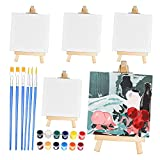 SUFEI 18PCS Mini Canva and Easel Sets with 5Pcs 4' x 4' Stretched Canvas,5Pcs 4' Wooden Mini Easels,6 Paint Brushes and 12 Acrylic Paints for Oils Painting Kids,Artists and Painting Parties