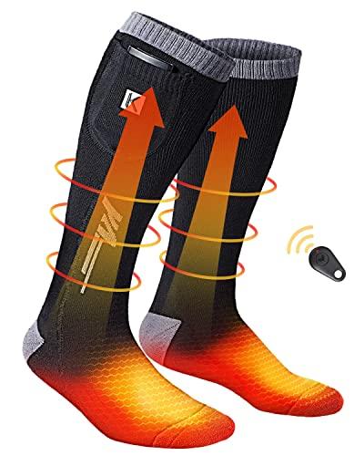 Beheizbare Socken, 3.7V 2600mAh beheizte Socken, Wiederaufladbaren Batterien Socken mit Drahtloser Fernbedienung, Winter-Baumwollsocken Fußwärmer für Skifahren Jagen Angeln Reiten Radfahren Camping