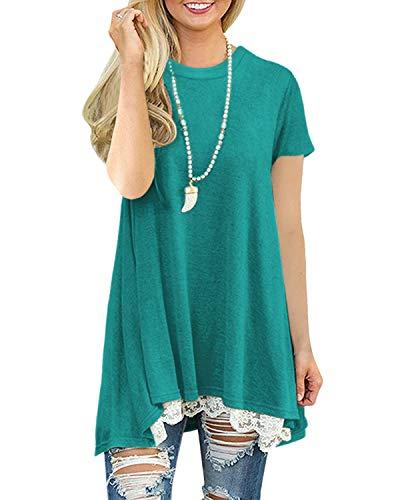 Vestito A-Line con Corte Donna Maglia Lunga T Shirt Top Camicia Estate Primavera (Verde M)