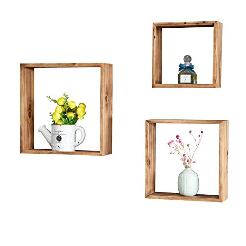 Floating Shelves Set of 6 - Rustic Wood Wall Shelves with 3 Square Boxes and 3 Small U Shelves for Free Grouping Driftwood Finish