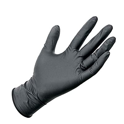 Chartsea 50Pc Comfortable Rubber Disposable Mechanic Nitrile Gloves Black