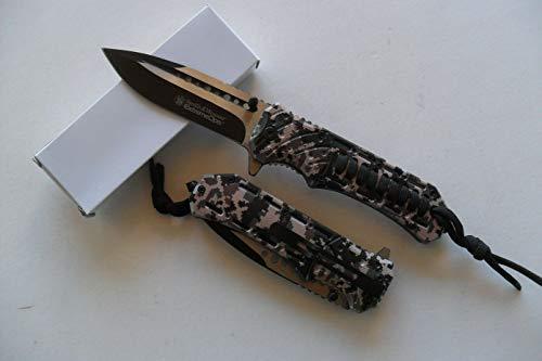 CP-CA-088 - Couteau De Survie Smith & Wesson Lame Acier Manche Camouflage Paracorde