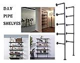 LOKKHAN DIY Industrial Pipe Shelf Kit,5 Shelf Pipe,Ceiling...