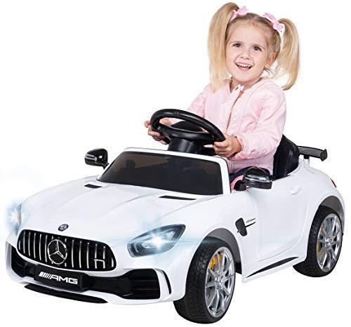 Actionbikes Motors Kinder Elektroauto Mercedes Amg GT-R - Lizenziert - 2 x 25 Watt Motor - Ledersitz - Eva Reifen - Softstart - Kinderauto (Weiß)
