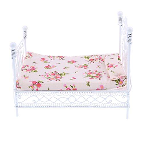 Sharplace 1/12 Puppenhaus Miniatur Metall Bett mit Matratze, Puppen Möbel für Puppenstube Schlafzimmer Dekoration