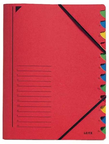 Leitz 39120025 Ordnungsmappe, 12 Fächer, Colorspankarton, rot