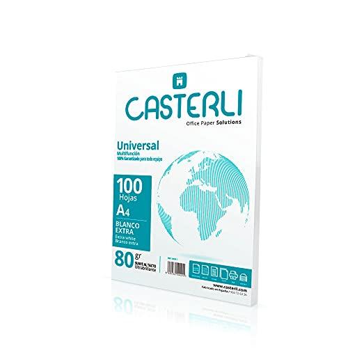 CASTERLI - Folios A4, 100 Hojas Blancas. Tamaño A4, Papel de 80 gr, Extra blanca, Papel multiusos para impresora A4 80gsm (A4, 100 HOJAS)