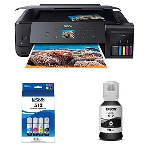 Epson Expression Premium ET-7750 EcoTank Wireless Wide-format 5-Color All-in-One Supertank Printer with Scanner, Copier and Ethernet plus Epson T512 Black and Color Combo Pack (5 Bottles)