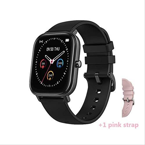 Smart Watch Heren Dames Sport Ip67 Waterdichte Klok Hartslag Bloeddrukmeter Smartwatch Voor Ios Andriod Zwart met riempje