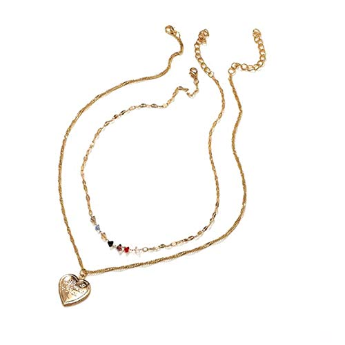HBWHY Collar de doble capa para mujer con diamantes de imitación y corazón, collar de cadena para mujeres y niñas