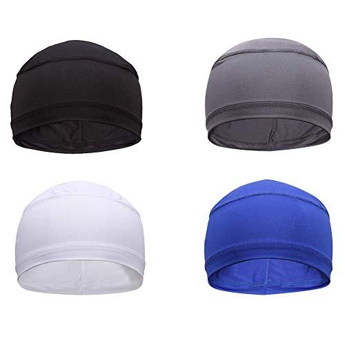 4 Pack Cycling Skull Caps Helmet Liner Cooling Beanie Caps Sports Running Hat … Black