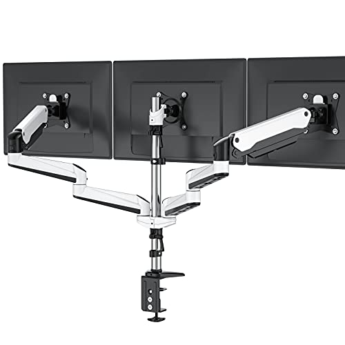 Triple Monitor Stand  Full Motion Articulating Aluminum Gas Spring Monitor Mount Fit Three 17 to 32 inch LCD Computer Screens with Clamp Grommet Kit