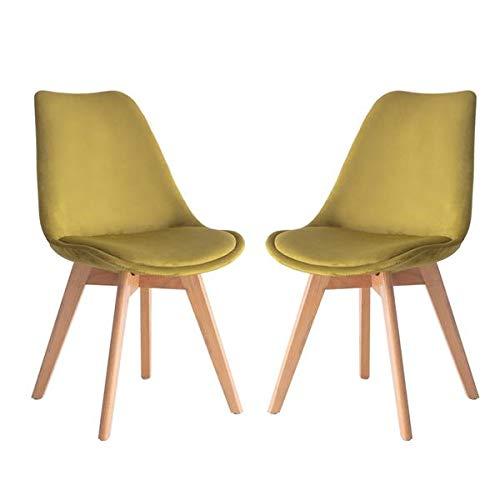 Casyva Juego de 2 sillas de Comedor tapizadas en tulipán de Terciopelo Retro escandinavo Silla de Oficina con Patas de Madera Maciza de Haya (Amarillo)