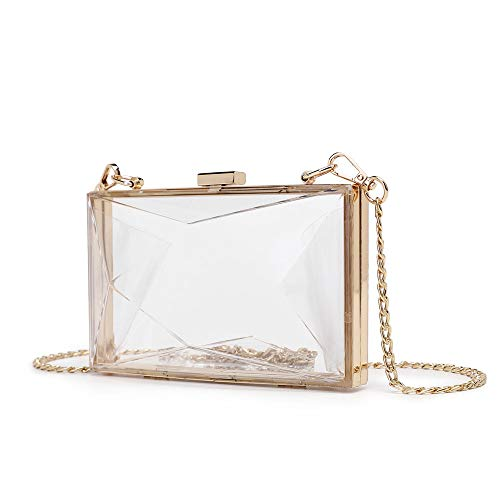 Clear Crossbody Bag Box Clutch Purse for Women, Transparent Stadium Approved Shoulder Handbag for Sporting Events Gameday, Bridal Wedding, Bachelorette Party, Prom & Concert