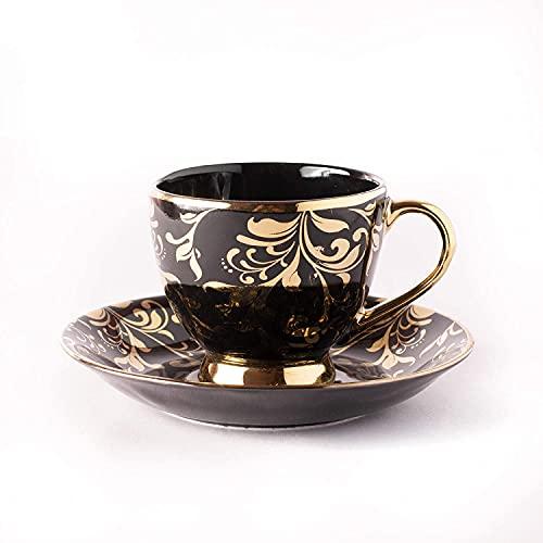 Juego de 2 platillos de taza de té de porcelana fina y oro negro, 180 ml