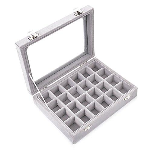 Ivosmart Aufbewahrungsbox für Schmuck, 24 Fächer, aus Samt, mit Glasdeckel, Fächer für Ohrringe, Schwarz, Pappe, grau, 24 Section (Grey)
