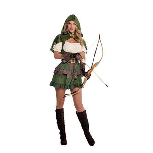 NET TOYS Sexy Robin Hood Kostüm Damen Waldläuferin Verkleidung M Jägerin Outfit Räuberin Damenkostüm Märchenkostüm Kleid Faschingskostüm Elbin
