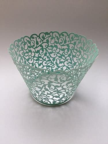 12 pcs Classic Filigree Lace Cupcake Wrappers Wrapper for Standard Size Cupcake Liners Mint product image