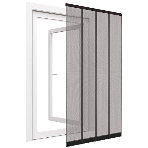 Insektenschutz Tür Vorhang Premium in anthrazit Fliegengitter aus Fiberglas Lamellen mit eingenähten Gewichten und Selbstklebender PVC Klemmleiste Fliegenvorhang, Größe:100 x 220 cm